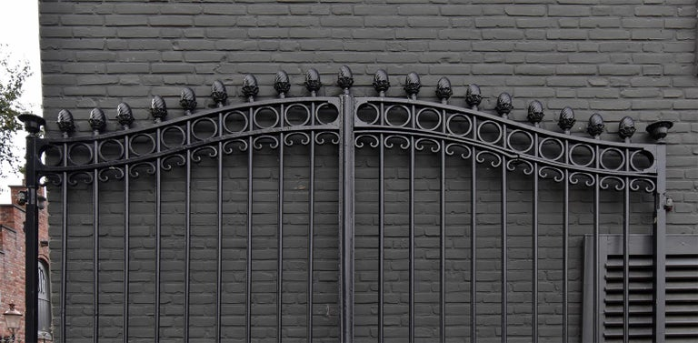 Beautiful very large antique gate from the 19th century. Recuperated out of a mansion in France.  It has been blasted, polished and painted black.