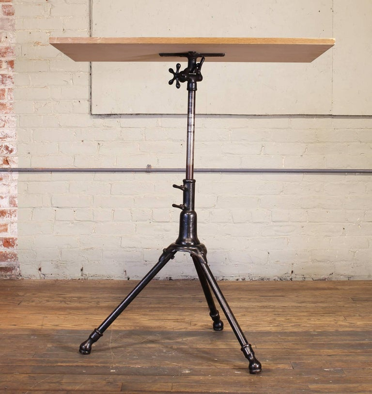 Industrial Antique Cast Iron Drafting Table by A. Hoffman Co. 1910 Rochester, NY For Sale