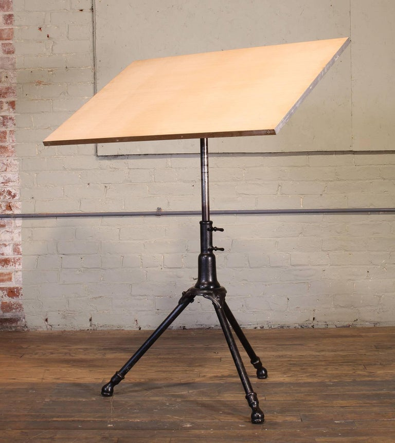 American Antique Cast Iron Drafting Table by A. Hoffman Co. 1910 Rochester, NY For Sale