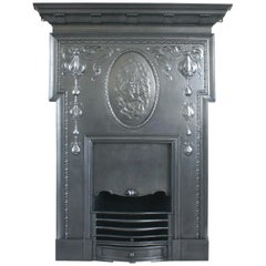 Antique Cast Iron Edwardian Art Nouveau Combination Fireplace