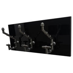 Antique Cast Iron Faux Bamboo Wall Hooks Hangers on New Black Wooden Support