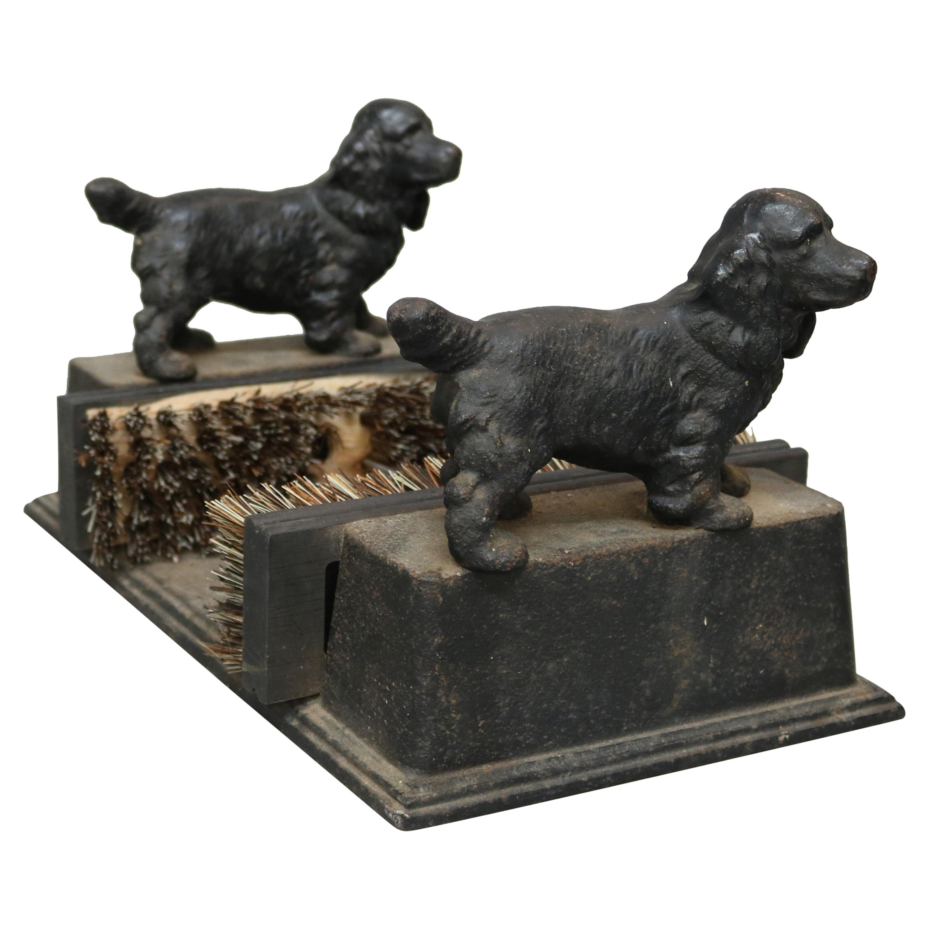 Antique Cast Iron Figural Dog Boot Scraper With Spaniels Circa 1890 At 1stdibs