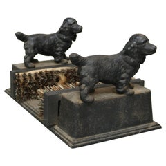 Antique Cast Iron Figural Dog Boot Scraper with Spaniels, circa 1890