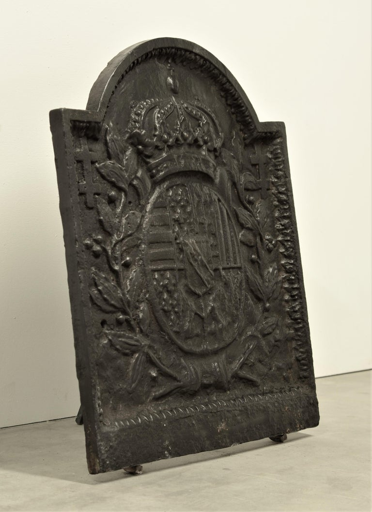 19th Century Antique Cast Iron Fireback For Sale