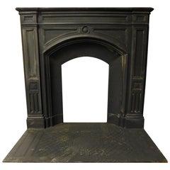 Antique Cast Iron Fireplace Mantle, Black Iron & Wood, Late 19th Century England