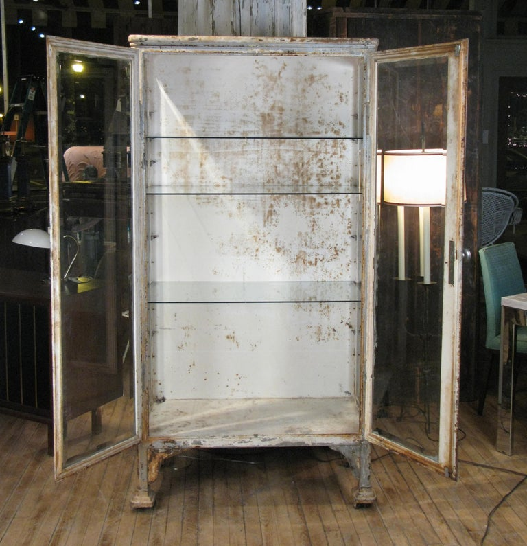 American Antique Cast Iron and Glass Apothecary Cabinet For Sale