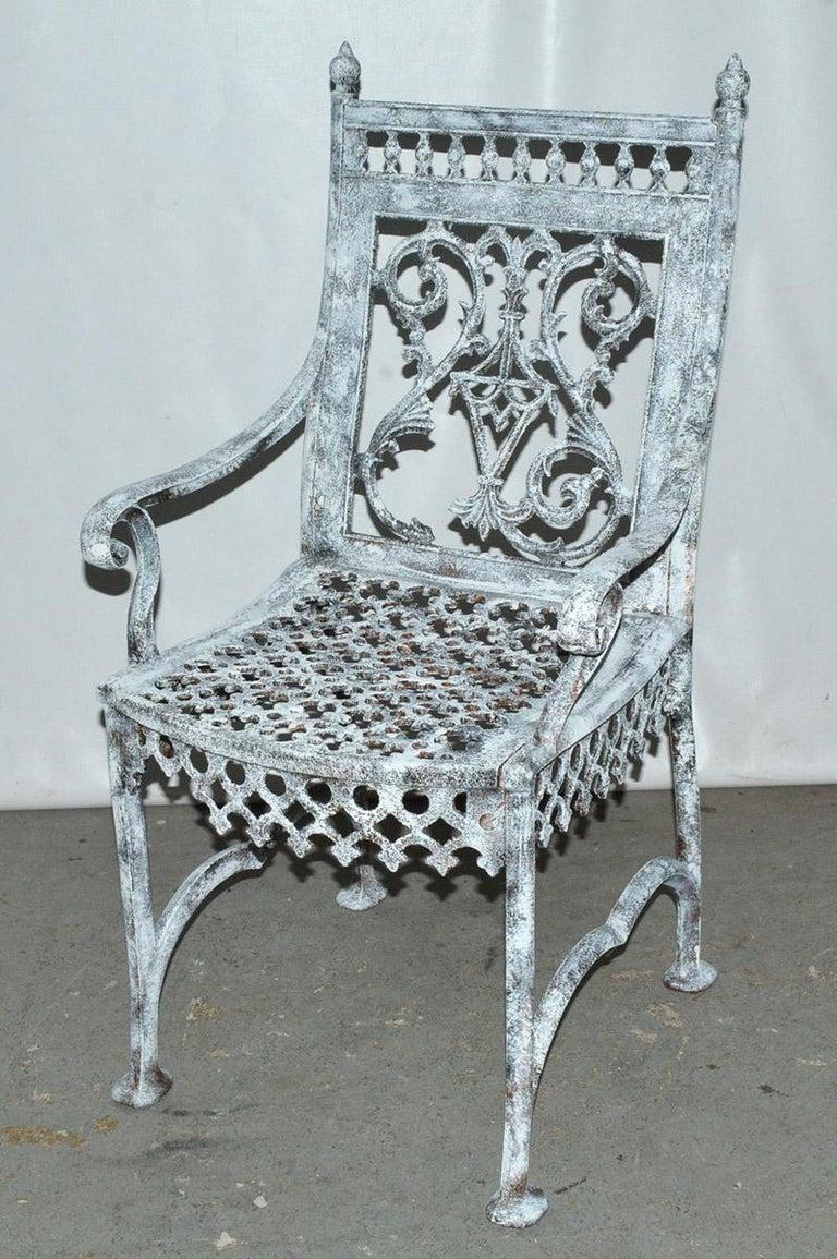 Victorian Antique Cast Iron Gothic Garden Chair For Sale
