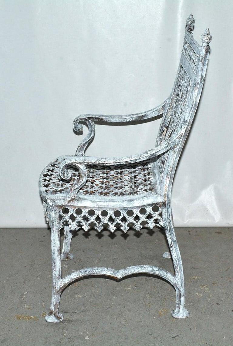 British Antique Cast Iron Gothic Garden Chair For Sale