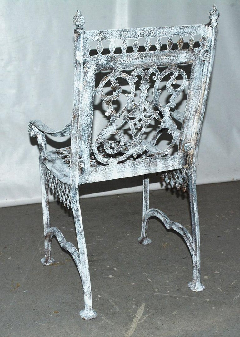 Antique Cast Iron Gothic Garden Chair In Fair Condition For Sale In Great Barrington, MA