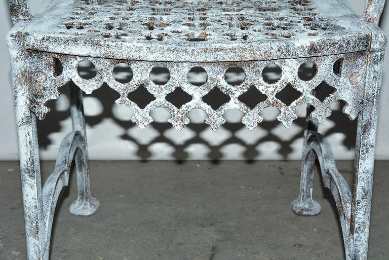 Antique Cast Iron Gothic Garden Chair For Sale 3
