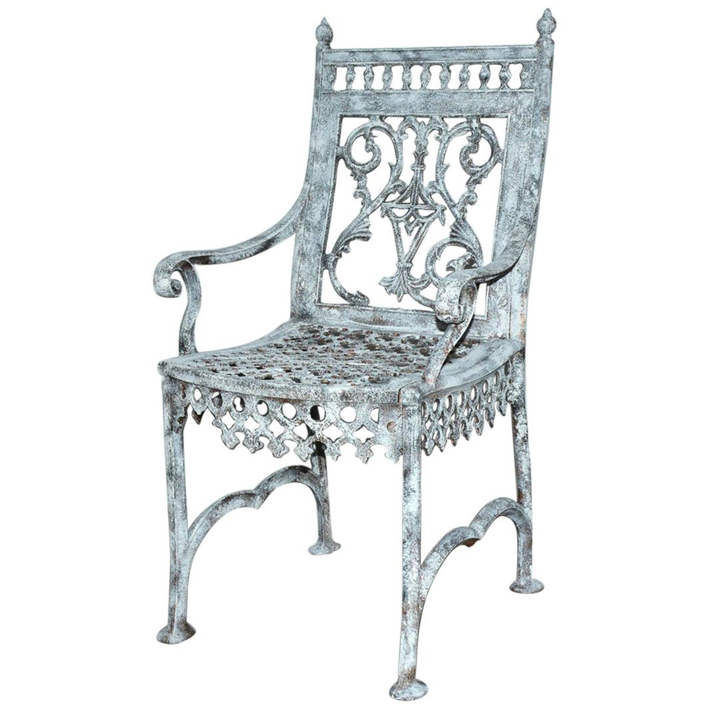 Vintage Cast Iron Gothic Garden Bench Chairs Patio Garden Set Of 3 Pieces
