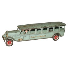 Antique Cast Iron Hubley Coast-to-Coast Toy Passenger Bus, circa 1930