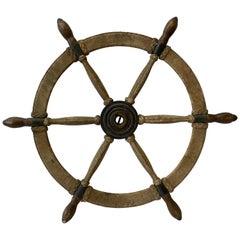 Antique Cast Iron, Oak and Braided Hemp Nautical Ships Wheel, circa 1910