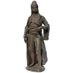 Antique Cast Iron Orientalist Arab Warrior Sculpture