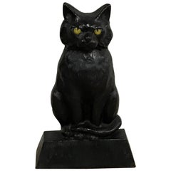 Antique Cast Iron Seated Cat Doorstop