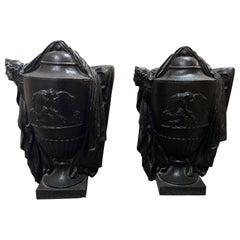 Antique Cast Iron Urns, circa 1890