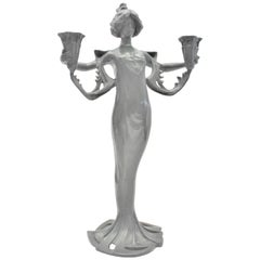 Antique Cast Metal Art Nouveau Figural Candle Holder of a Robed Female