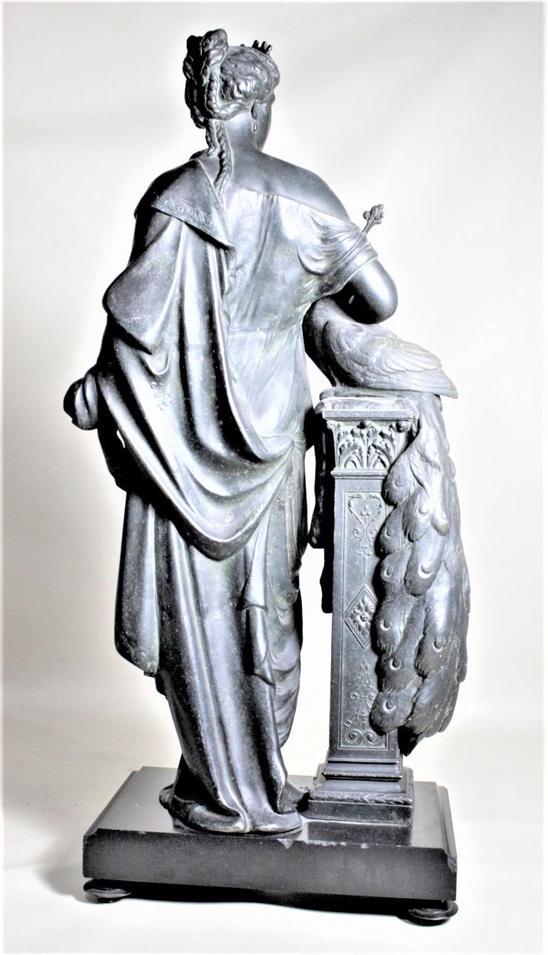 Antique Cast Spelter Neoclassical Woman with a Peacock Sculpture on Marble Base For Sale 4