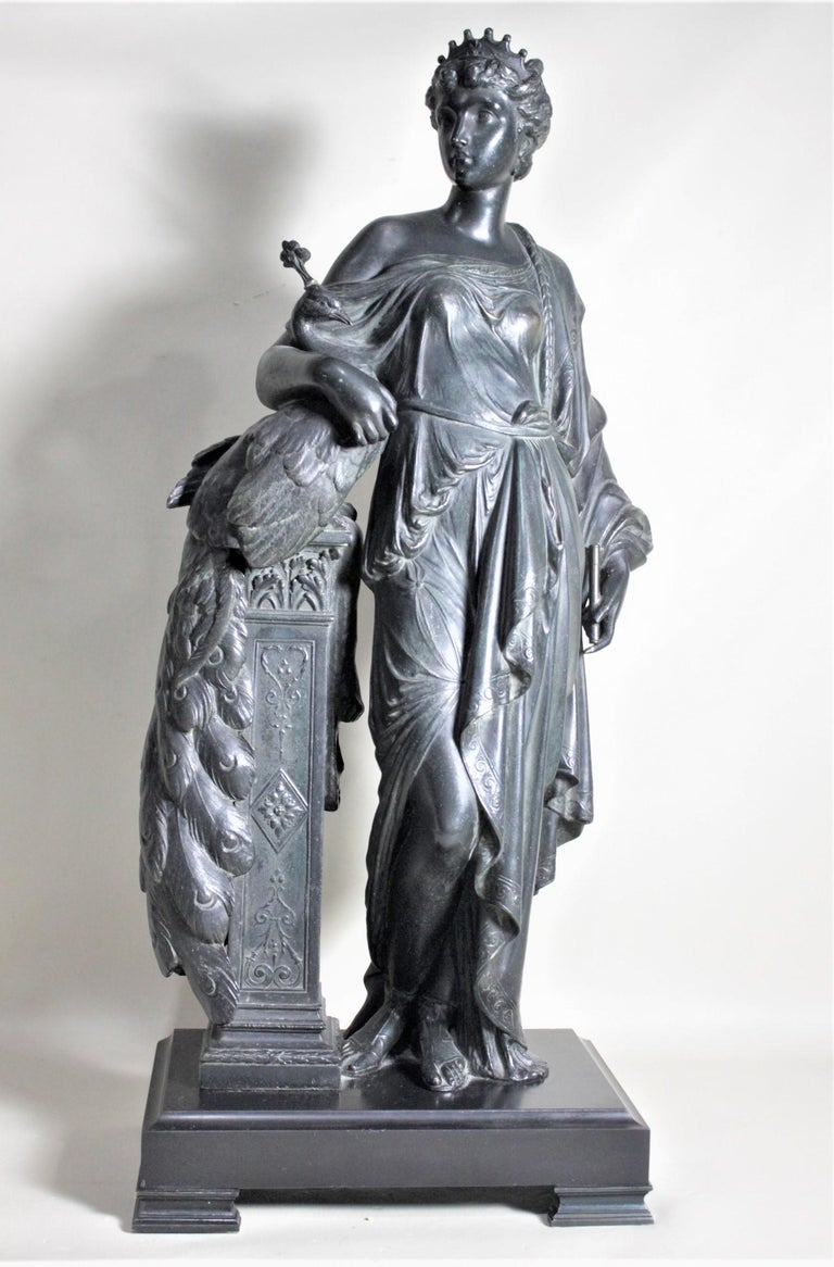 Antique Cast Spelter Neoclassical Woman with a Peacock Sculpture on Marble Base For Sale 7
