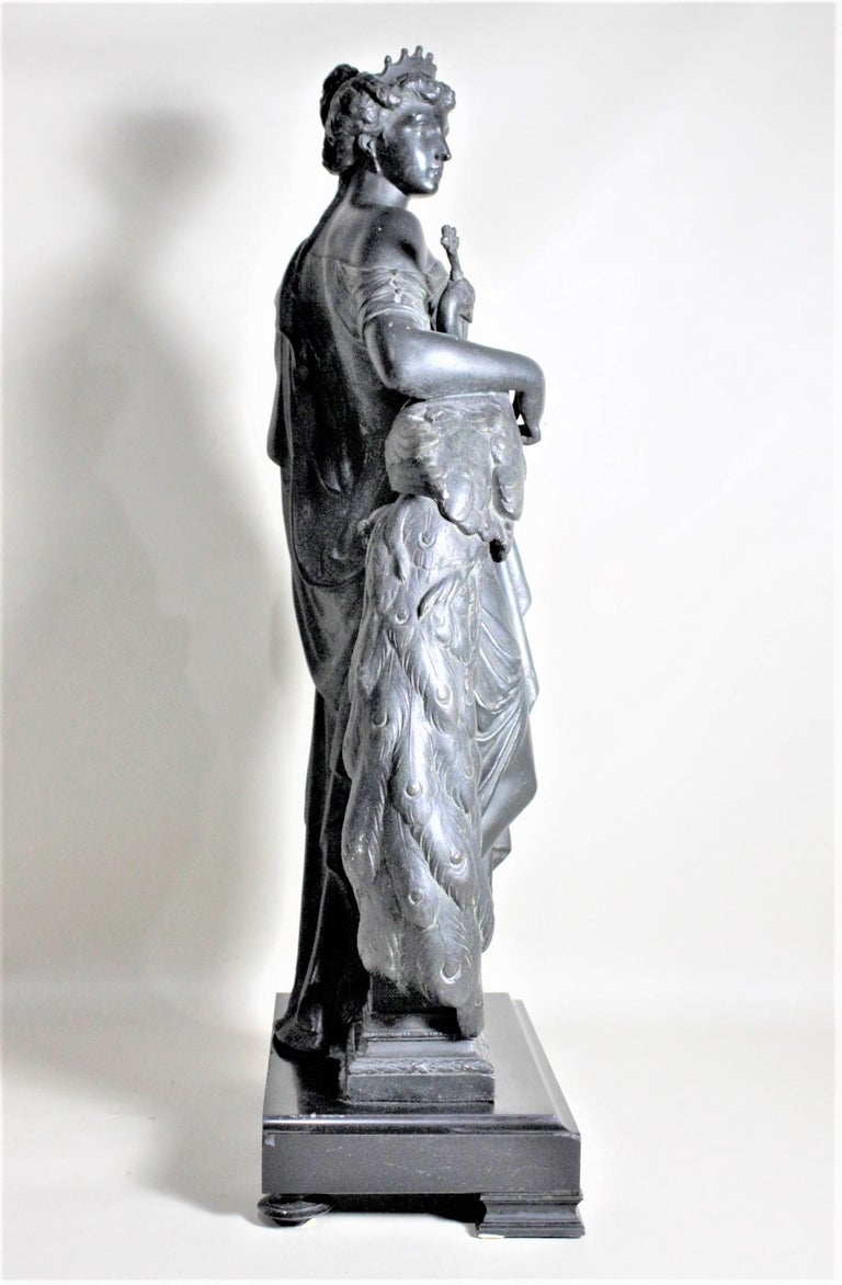 Neoclassical Revival Antique Cast Spelter Neoclassical Woman with a Peacock Sculpture on Marble Base For Sale