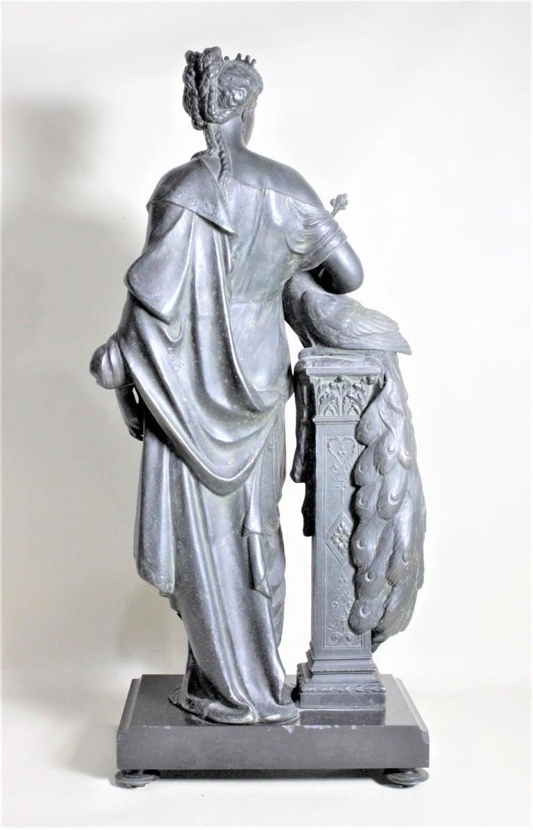 French Antique Cast Spelter Neoclassical Woman with a Peacock Sculpture on Marble Base For Sale