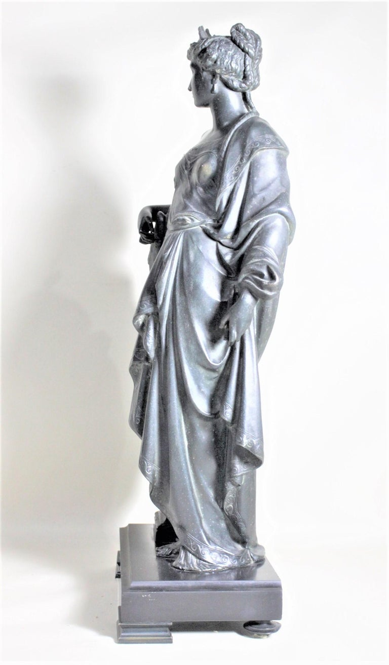 Antique Cast Spelter Neoclassical Woman with a Peacock Sculpture on Marble Base In Good Condition For Sale In Hamilton, Ontario