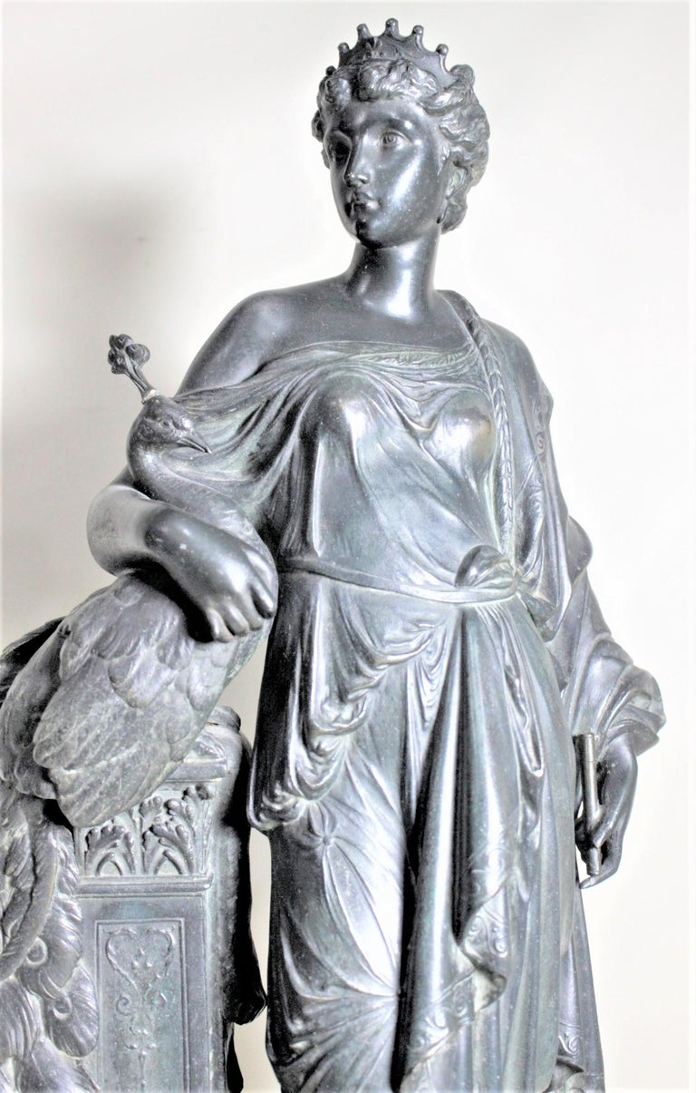 19th Century Antique Cast Spelter Neoclassical Woman with a Peacock Sculpture on Marble Base For Sale