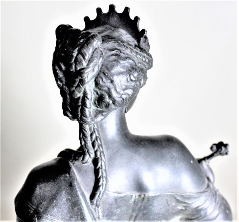 Antique Cast Spelter Neoclassical Woman with a Peacock Sculpture on Marble Base For Sale 3