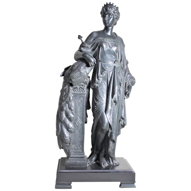 Antique Cast Spelter Neoclassical Woman with a Peacock Sculpture on Marble Base For Sale