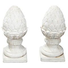 Antique Cast Stone Acorn Form Finial Garden Ornaments, 20th Century