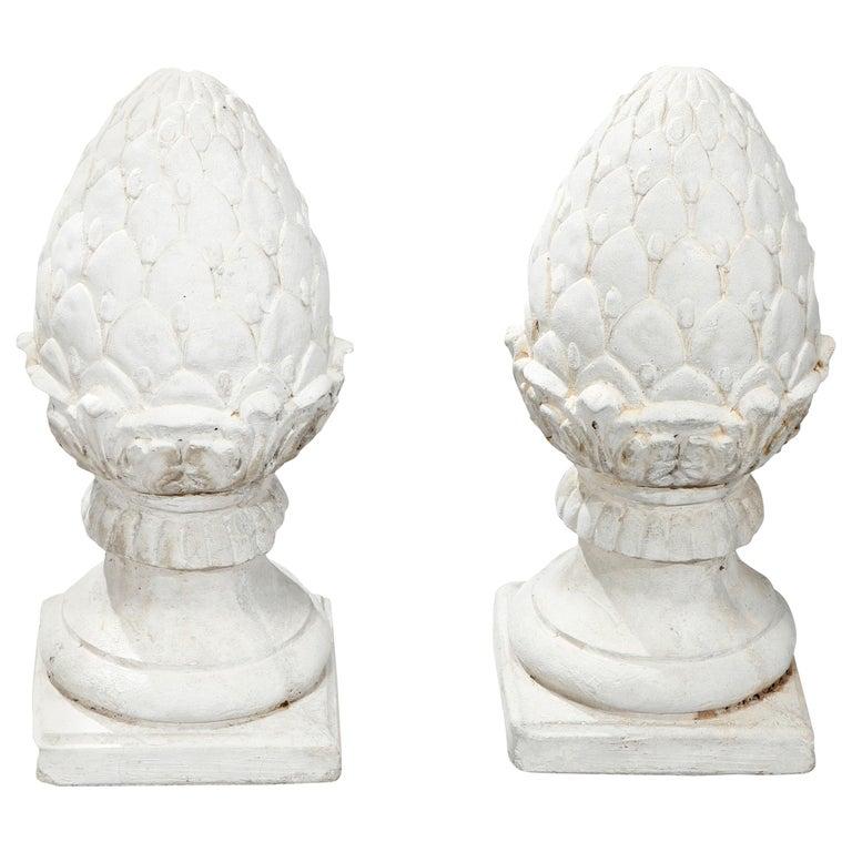 Antique Cast Stone Acorn Form Finial Garden Ornaments, 20th Century For Sale