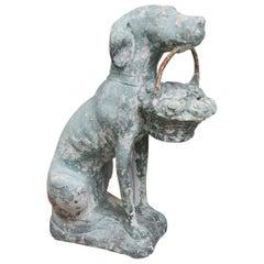 Antique Cast Stone Dog with Basket