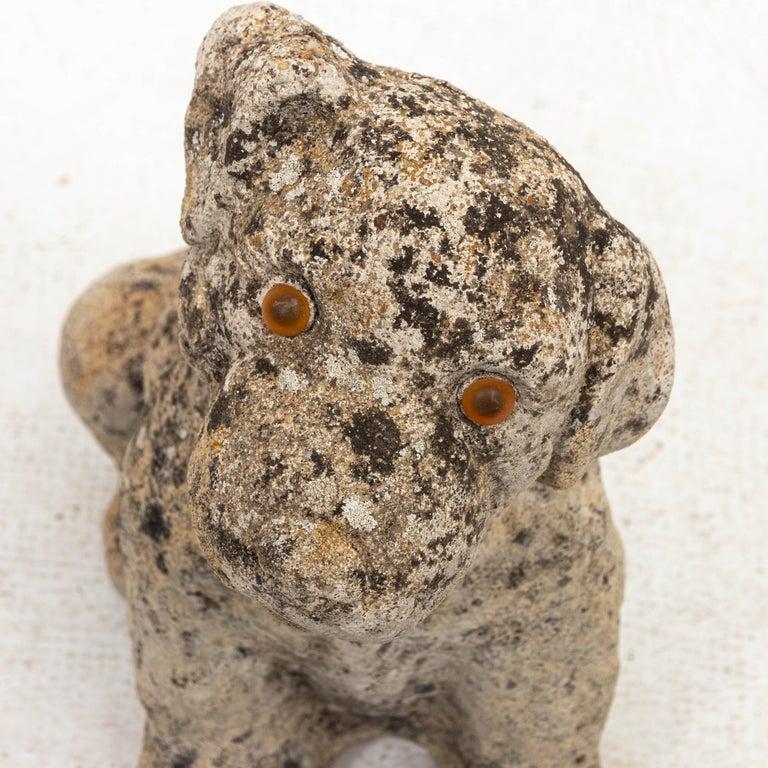 British Antique Cast Stone Puppy Garden Ornament For Sale