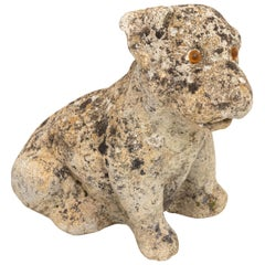 Antique Cast Stone Puppy Garden Ornament