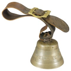 Antique Casted Bronze Cow Bell with Leather Strap, Switzerland, ca. 1900