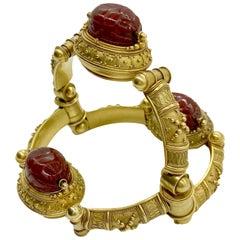 Antique Castellani Carnelian Scarab Bracelet