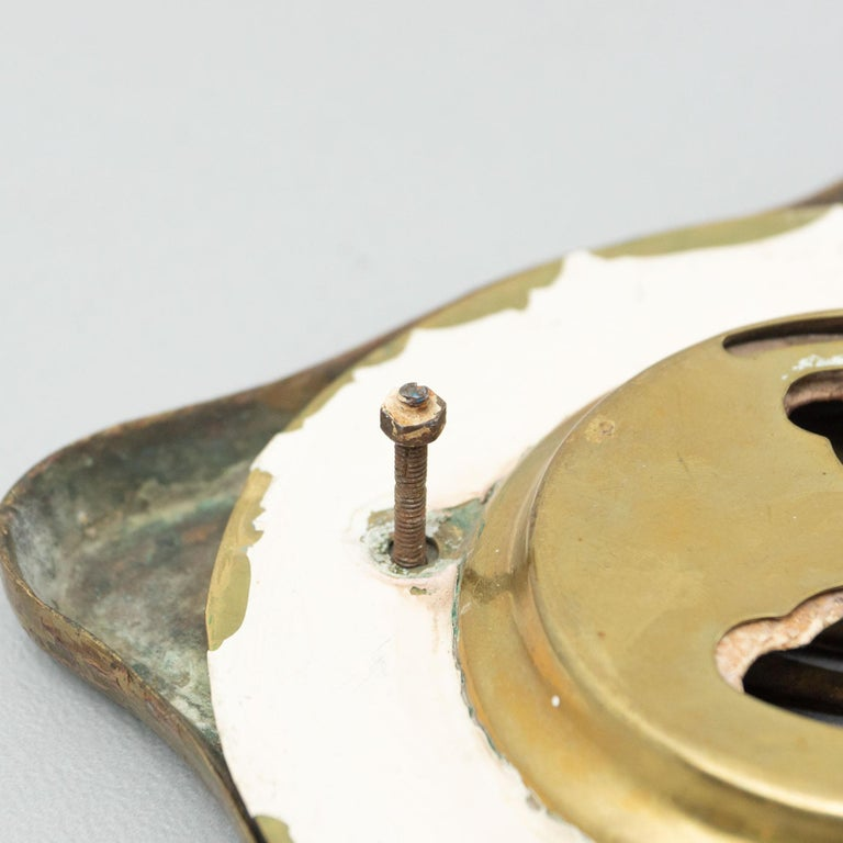 Antique Catalan Modernist Brass Handle and Peephole, circa 1920 For Sale 11