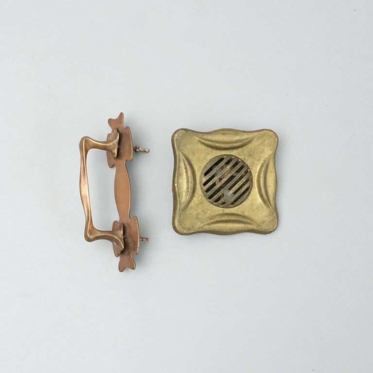 French Antique Catalan Modernist Brass Handle and Peephole, circa 1920 For Sale