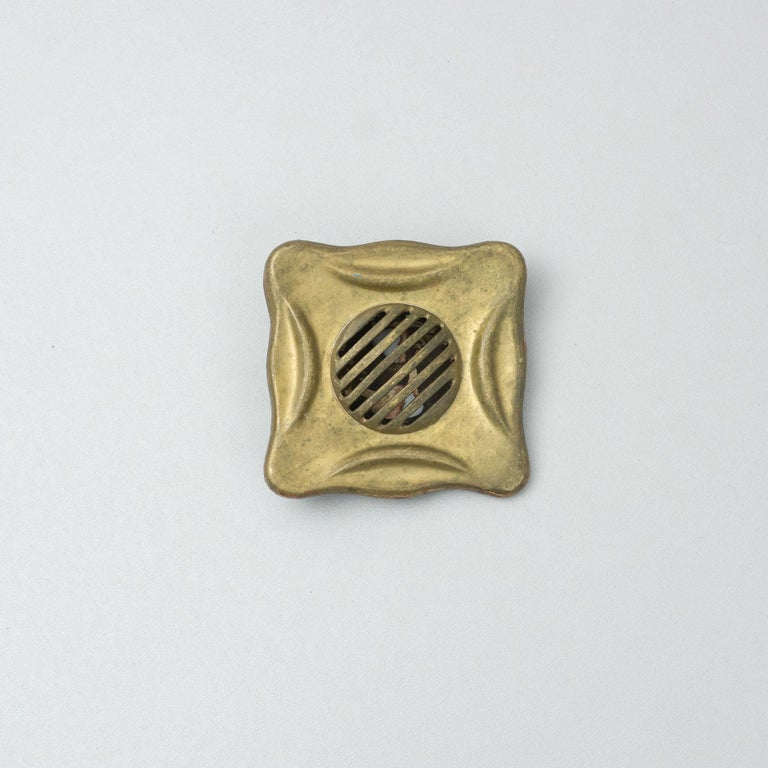 Early 20th Century Antique Catalan Modernist Brass Handle and Peephole, circa 1920 For Sale