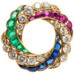 Open Wheel Brooch, Rubies, Emeralds, Diamonds & Sapphires 18k Gold, English 1890