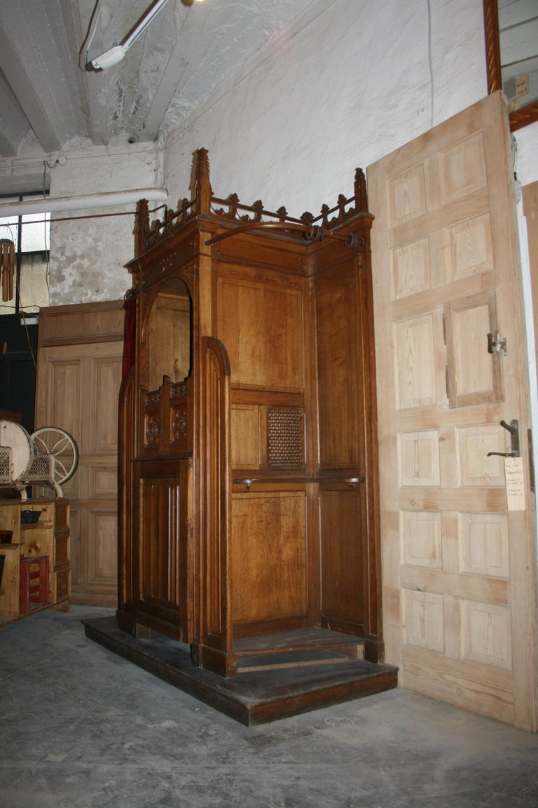 Antique Catholic Confessional From Li 232 Ge Solid Oak Late 19th Century
