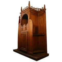 Antique Catholic Confessional from Liège, Solid Oak, Late 19th Century