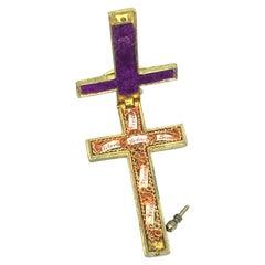 Antique Catholic Reliquary Box Crucifix Pendant with 6 Relics of Saints