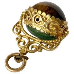 Antique Cats-Eye and Jadeite 9 Carat Gold Fob