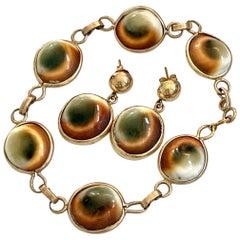 Antique Cat's Eye Operculum Snail 14 Karat Yellow Gold Bracelet and Earrings