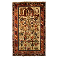 Antique Caucas Daghestan Hand Knotted Wool Rug, circa 1880