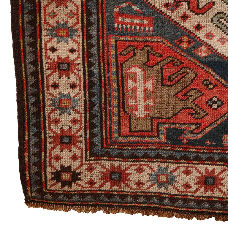 Antique Caucasian Carpet in Pure Handspun Wool and Vegetable Dyes, circa 1880 For Sale 6