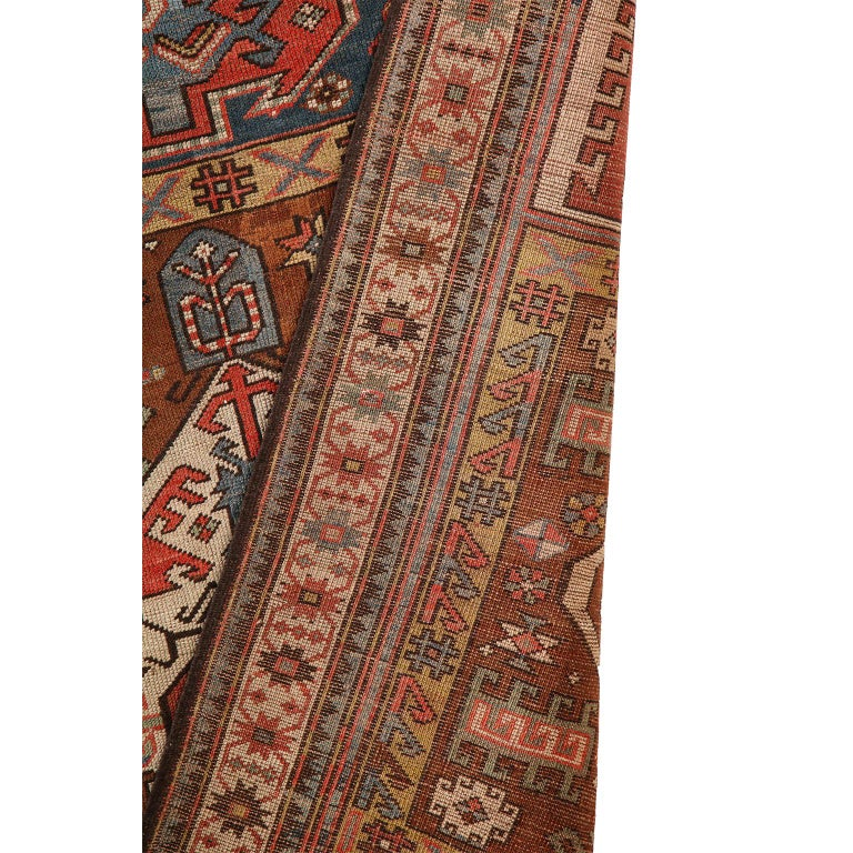 Antique Caucasian Carpet in Pure Handspun Wool and Vegetable Dyes, circa 1880 For Sale 7