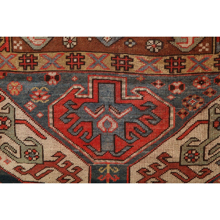 Antique Caucasian Carpet in Pure Handspun Wool and Vegetable Dyes, circa 1880 For Sale 1