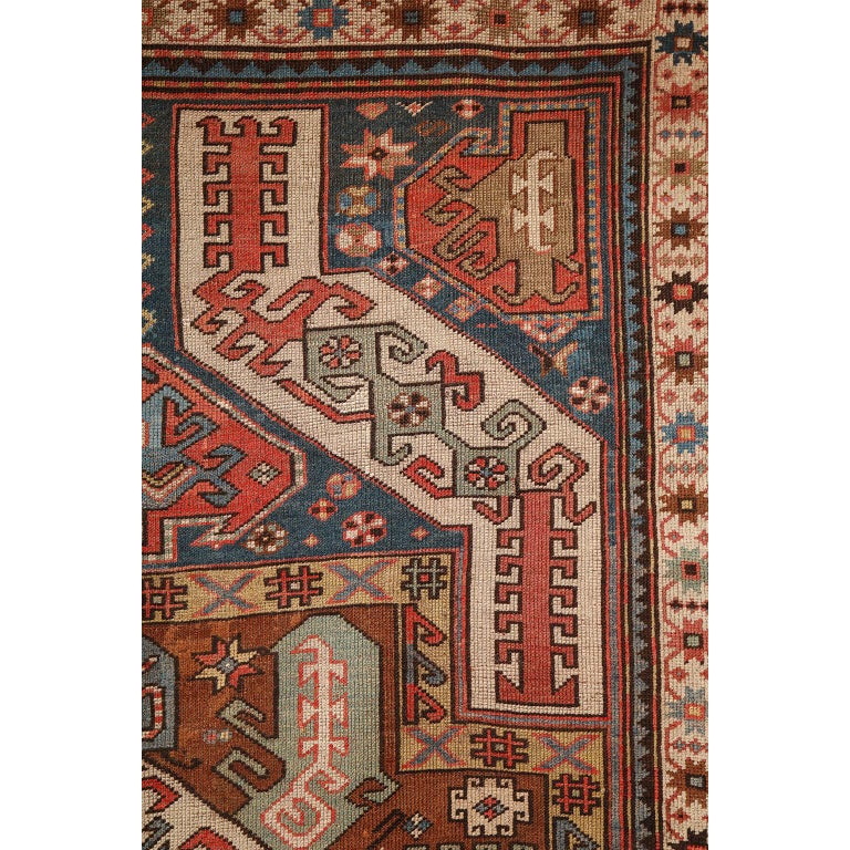 Antique Caucasian Carpet in Pure Handspun Wool and Vegetable Dyes, circa 1880 For Sale 2